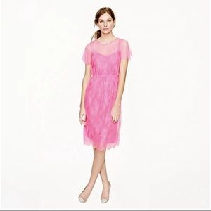 J. Crew Collection Lace Slip Dress in Hot Pink